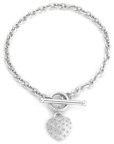 Carissima Gold 9ct White Gold 0.10ct Diamond Pave Heart T-Bar Bracelet of 18cm/7'