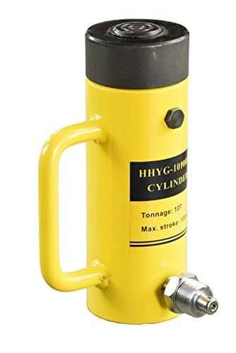 Pro-Lift-Werkzeuge 10 t Hydraulikzylinder mit Sicherungsmutter Kolbenhub 100 mm einfachwirkend Arbeitszylinder cylinder 10000 kg Druckkraft Schwerlastheber 10t