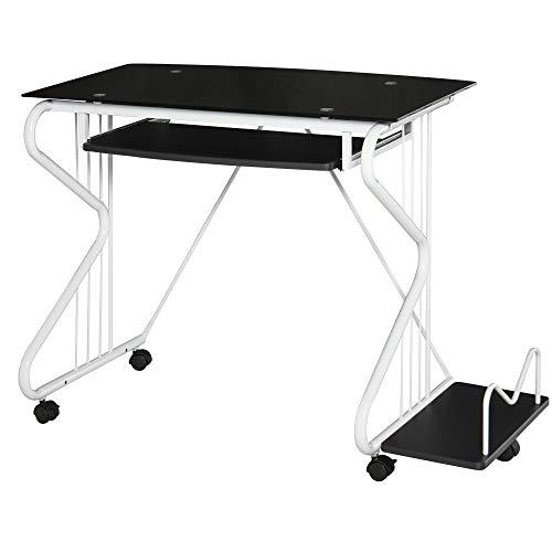 HOMCOM Computertisch, Schreibtisch, PC Tisch, Bürotisch, Spanplatte, Stahl, entsprechendes Fällzertifikat der E1 MDF-Platte oder FSC, Schwarz+Weiß, 90x50x74.3cm