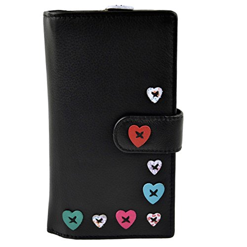 Ladies Leather Large Tab Purse/Wallet by Mala; Lucy Collection Handy Heart (Black)