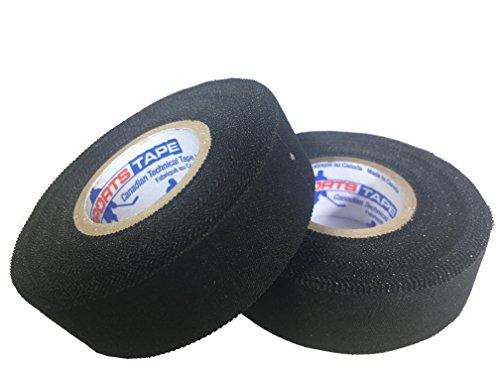 "sports tape Athletic Tape (Hockey Lacrosse Stick Tape, Baseball Bat Tape) 2 Pack (Black, 1"" x82 Feet)"