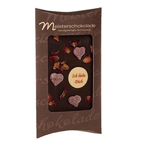 Ich liebe Dich: Zartbitterschokolade von Meisterschokoladen handverziert mit Herzen und Rosenblüten 100 g Tafel