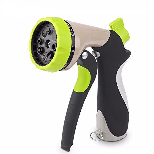 Generic Garden Hose Nozzle Hand Sprayer 8 Pattern Adjustable Heavy Duty Metal Slip Resistant Car Wash Nozzle
