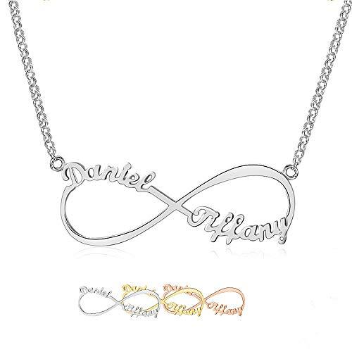 Grand Made Namenskette Infinity Personality Namenskette 925 Sterling Silber 2 Name für Damen Valentines Day Schmuck für Damen (Silver, Silber)