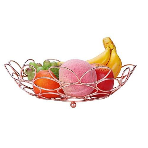jiaju Bandeja de Fruta, Nordic Hueco del Metal de Ganso Huevo del Cuenco de Fruta, Bandeja de Frutas de Lujo Sala de Estar casera de la decoración, de Oro Rosa.11.8 * 3.5 * 6.9in
