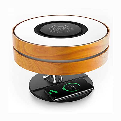 Lampada da comodino Horizon con caricabatterie wireless da 10 W e altoparlante Bluetooth TWS, lampada da notte con orologio digitale, regolazione continua e modalità di sospensione per comodino
