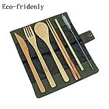 FSDELIV Besteckset aus natürlichem Bambus, Reisen, Essen gehen, Camping  6 Stück  Wiederverwendbar  Bambus Besteck Stroh Besteck Set mit Stoffbeutel Küche Kochutensilien