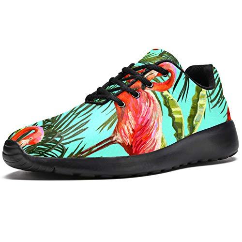 Zapatillas deportivas para correr para mujer, diseño de flamenco, Sago Cycas, de malla, transpirables, para caminar, senderismo, tenis, color, talla 39 EU