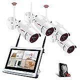 Tout-en-Un Système de Caméra Sécurité avec 12Pouce LCD Moniteur, Vidéo Caméra sans Fil, 4CH...