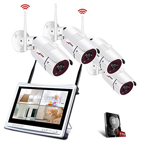 Kit Cámaras de Seguridad Inalámbricas con 12 Pulgadas de Monitor LCD, ANRAN Kits de Vigilancia NVR WiFi 4CH 1080P con 4PCS 2.0MP Cámaras IP CCTV, Acceso Remoto, Detección de Movimiento,1TB HDD