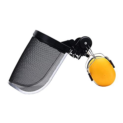 Protector Facial de Acero Protector de Repuesto, Protectores Auditivos, Protección para Motosierra Forestal, Casco de Seguridad, Casco Resistente