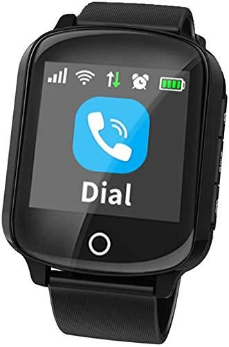 LQLQ Orologi per Anziani, Orologi per Bambini, Orologi per Posizionamento GPS, con Allarme di Caduta per monitoraggio remoto della frequenza cardiaca, Impermeabile IP68,Black