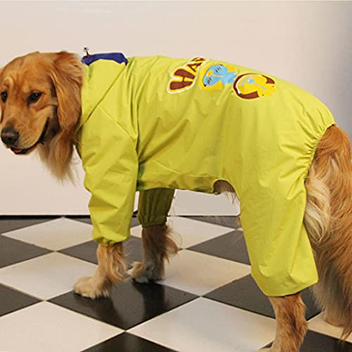 HDDFG Ropa Impermeable para la Lluvia para Perros de Verano, Impermeable para Perros Grandes, Samoyedo, Golden Retriever, Disfraz de Labrador, Abrigo para Mascotas (Color : Yellow, Size : 38)