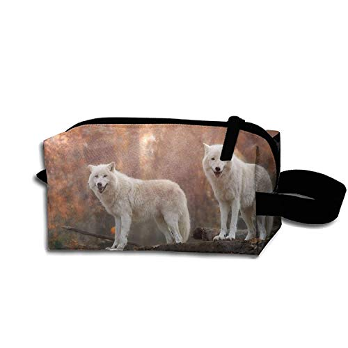 Roomy Cosmetic Bag Wolf Toiletry Pouch Makeup with Zipper for Travel