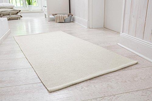 andiamo Handwebteppich Milo, Läufer, 100% Baumwolle, pflegeleicht & waschbar, einfarbig, Größe:60 x 120 cm, Farbe:Creme