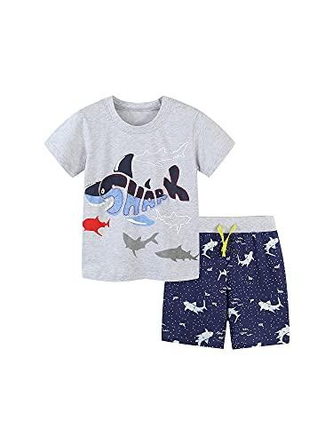 Yoskog Chándal de verano para niños pequeños, camiseta de manga corta con estampado de tiburón y pantalones cortos con cordón, juego de 2 piezas