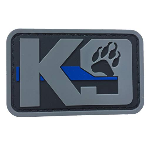 K9 Dog Paw Patch PVC Rubber Tactical Police Law Enforcement Support - Canine Thin Blue Line Patch Hook Fastener Backing by uuKen Tactical Gear (Grey)