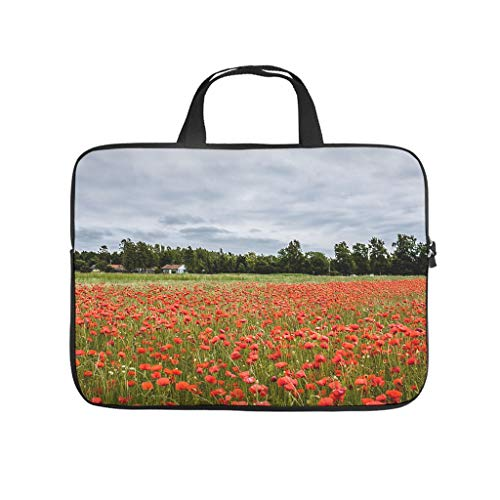 Red Flowers Poppy Field Scenery Tablet Sleeve Funny 3D Print Tablet Protective Case Cover Dust Proof Neoprene Laptop Sleeve for Teen Students White 17inch