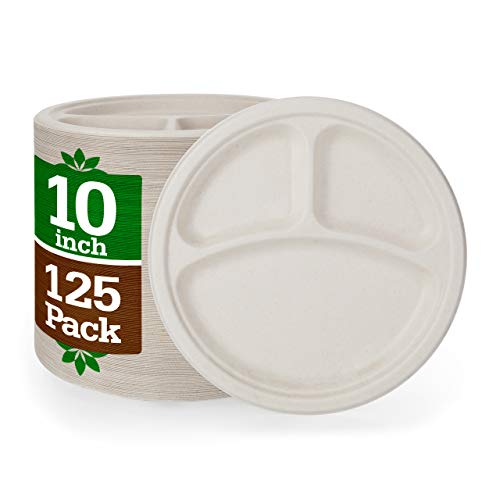 10' 3 Compartment Paper Plates [125-Pack] Brown Compostable Disposable Biodegradable Premium Natural Eco-Friendly Bagasse, Made of Sugar Cane Fibers Heavy-Duty Quality, Nexhex