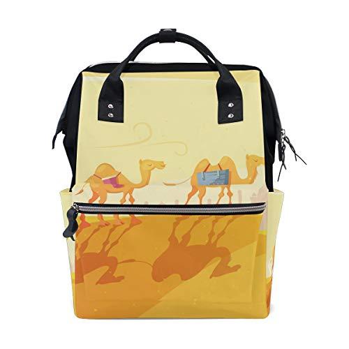 Sac à langer de grande capacité, sac à dos pour soins de bébé, imprimé camel dans le désert, multifonction, étanche, sac à dos élégant pour maman et papa.