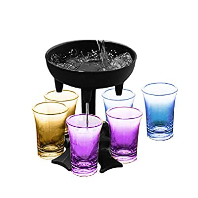 Dispenser and Holder with 6 Shot Glasses, for F...