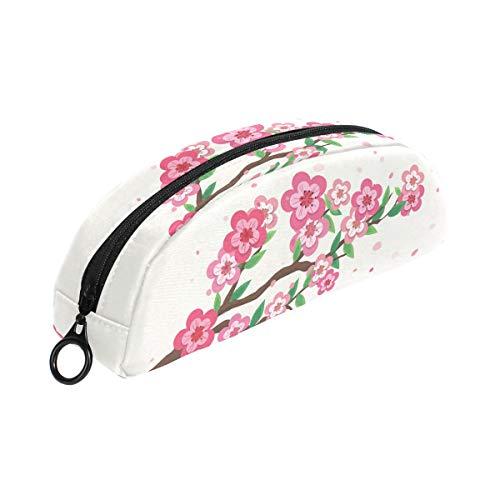 Astuccio rosa con fiori di ciliegio e cerniera, piccolo astuccio per trucchi, cancelleria...