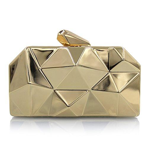 Flada mujeres bolsos simple de metal caja de hierro en forma de diamante de oro noche Embragues Bolsas