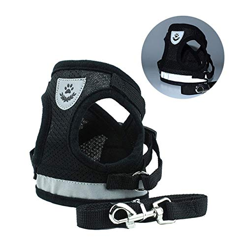 Reflective Dog Harness For Small Medium Dogs Nylon Mesh Pet LeadsPuppy Cat Vest Walking Harnesses Leash Set S/M/L/XL - Black,L