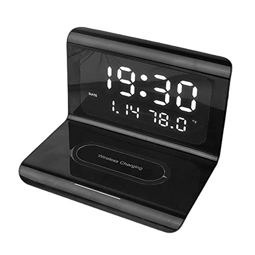 fuchsiaan Cargador rápido inalámbrico multifunción con espejo despertador digital y termómetro, compatible con varios teléfonos móviles, otros equipos negro