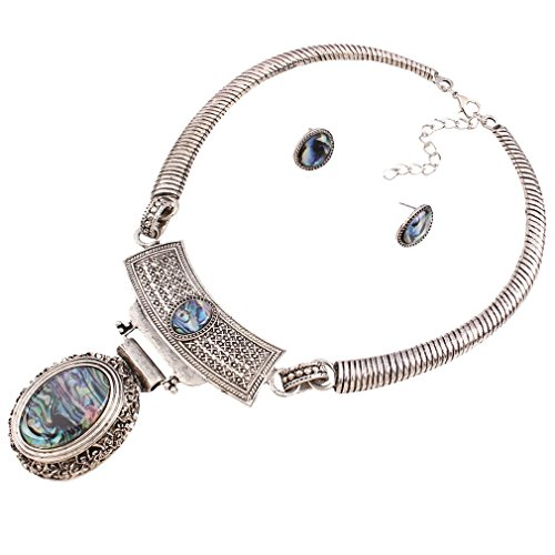 YAZILIND Silver Plated Resin Drop Pendant Chunky Choker Collar Necklace with Earrings Set for Women