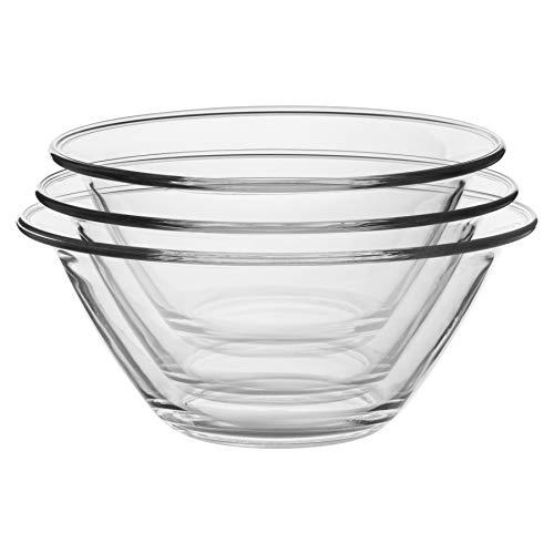 Bormioli Rocco - Set di 3 ciotole in vetro per nidificazione, resistenti, lavabili in lavastoviglie e adatti al microonde, 3 misure