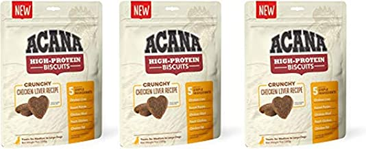 ACANA 3 Pack of Crunchy Chicken Liver High-Protein Biscuits, 9 Ounces Each, for Medium to Large Dogs