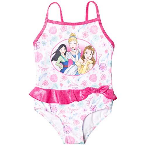 Disney Princess Cinderella Mulan Belle Toddler Girls One Piece Bathing Suit Pink/White 4T
