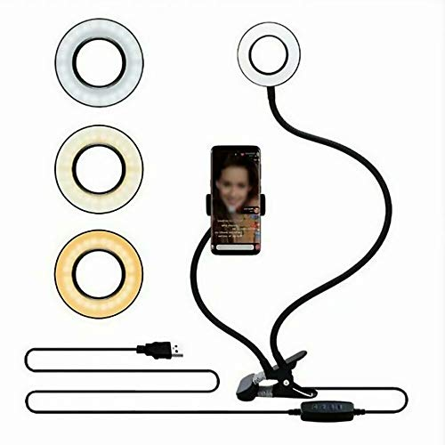Big Bargain Store Makeup Light 24 LED Selfie Ring Light con soporte para teléfono celular para Live Stream y Makeup Live Stream Selfie Ring Light Black