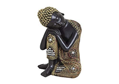 G.W. Buddha-Figur meditierend sitzend, 17 cm in schwarz Gold, Deko-Artikel für Wohnung & Haus, Buddha-Skulptur, Zen Garden, Wohnaccessoire, schöne Thai Statue