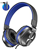 On-Ear Headphones with Microphone, Universal Wired Foldable Headphones for Adults Children Boys Girls Kids, Lightweight Portable Stereo Headphones with 1.5M Tangle-Free Cord for School Travel Blue