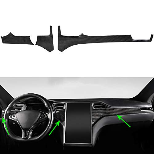 OBL Center Console Dashboard Cover Trim for Tesla Model X Model S 2014-2020 Car Interior Accessories ABS Imitation Carbon Fiber Inner Decoration - Middle Control Trim (Pack of 3)