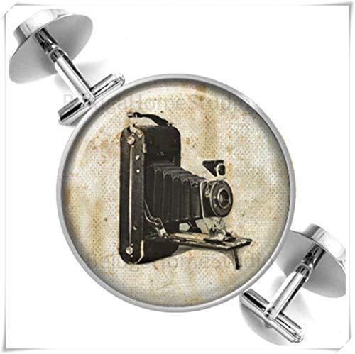 Heng Yuan Manschettenknöpfe, Design mit Vintage-Kamera auf Sepia-Grunge-Hintergrund, kuppelförmiger Glasschmuck, Reine Handarbeit