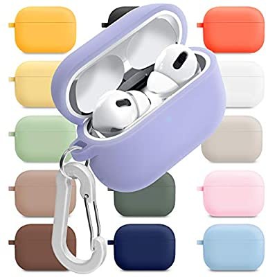 superdivision AirPods 1 & 2 & Pro Case Silicon Protective Clear Cover with Anti-Lost Carabiner Keychain Kit Set Dust Guard Dust-Proof Film [Front LED Visible] (AirPods Pro, Periwinkle) by Superdivision