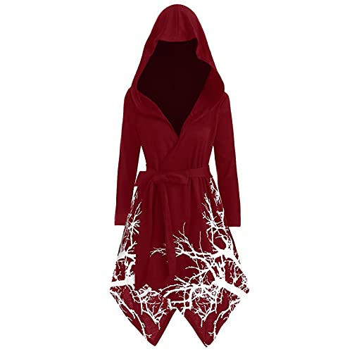 Kapuzencape Damen Umhang im gotischen Halloween Stil Vintage Novelty Tree Print Kapuzenmantel Retro Langarm Hoodie Bluse mit unregelmäßigem Saum in Übergröße Cosplay Party Kostüm