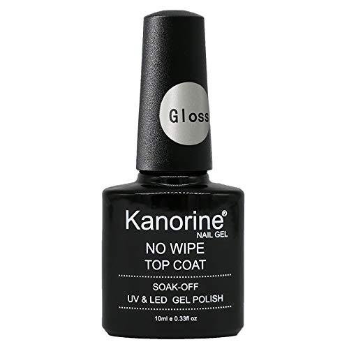 Kanorine Glossy Top Coat Gel Nail Polish UV LED Soak-Off No Wipe Lacquer Manicure Nail Sarlon Art (Gloss Top Coat)