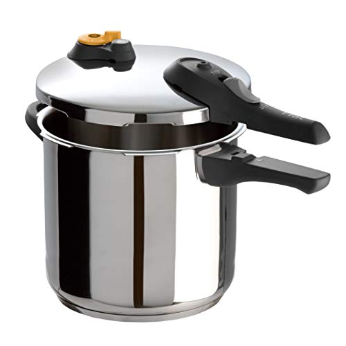 T-fal Pressure Cooker, Pressure Canner with Pressure Control, 15 PSI Settings, 6.3 Quart, Silver