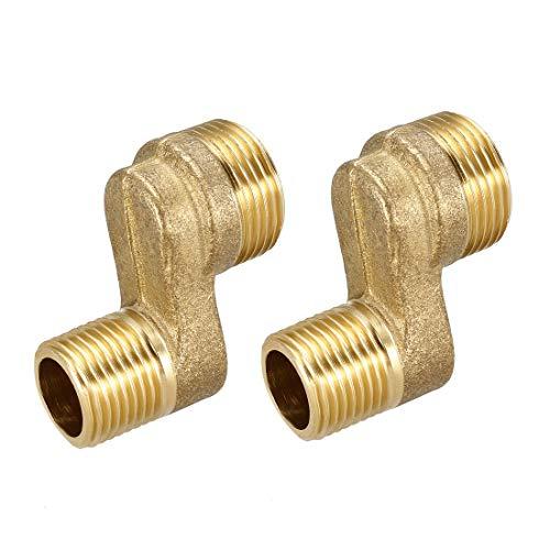uxcell 2 piezas de latón macizo grifo de ducha brazo oscilante ajustable G1/2-G3/4 adaptador de cocina 8-22 mm