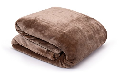 Internet's Best Plush Velvet Mink Throw Blanket - Café (Brown) - Thick Ultra Soft Couch Blanket - Warm Sofa Throw - 100% Microfiber Polyester - Easy Travel - Bed - 50 x 60