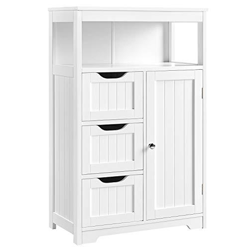 YAHEETECH Bathroom Floor Cabinet, Free Standing Wooden Storage Organizer Multiple Tiers Storage -