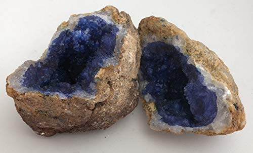 DINOSAURS ROCK Vivid Blue Dyed Quartz Crystal Geode - Split Into 2 Matching Puzzle Pieces - Dazzling!