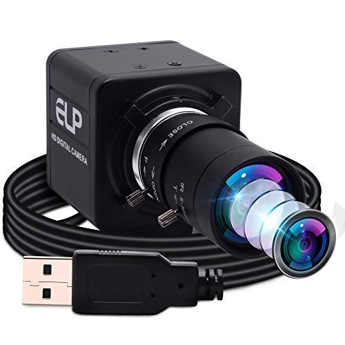 ELP Cámara web, gran angular, 5 – 50 mm, zoom manual, cámara HD, USB, compatible con Mac/Windows/Linux/Android UVC, enfoque ajustable (sensor 1080P OV4689)