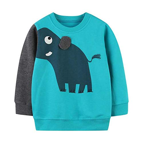 WRHPZW Little Boys Sweatshirts Long Sleeve Sport Elephant Sweat Shirt Pullover Crewneck Tops Tees