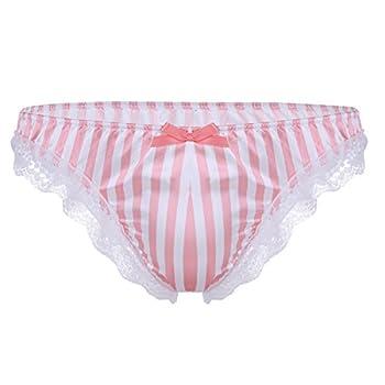 YiZYiF Men s Silk Satin Frilly Striped Print High Gloss Underwear Shiny Sissy Panties Pink Medium