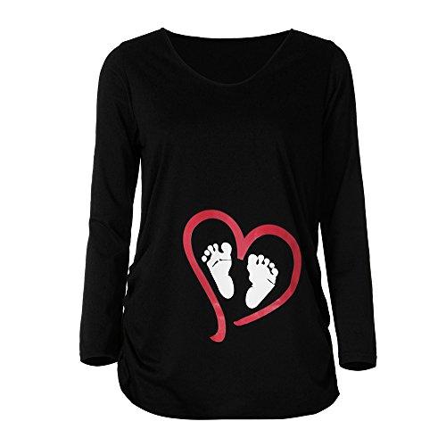 Damen Langarm T-Shirt Top Oberteil Schwangere Umstands Umstandstop Umstandsmode Schwangerschaft Shirt Lustige witzige süße Umstandsshirt für Schwangerschaft Schwangerschaftsshirt Pullover